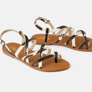 NWT's Natural Leather Zara Sandal 9 Eur 40 7.5 6.5